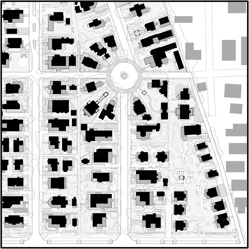 An Excerpt from Seaside, Florida Nolli Plan along Tupelo Street. The solid black masses represent the private residences. Notice the pattern of porches facing the public streets and how they contribute the sequence of public space. Image courtesy of Dhiru Thadani, 2015.