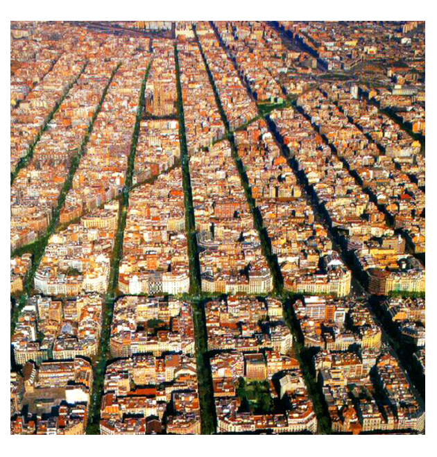 This aerial image of Barcelona shows just how important it is to pattern individual buildings together to create the beautiful and larger community. True value is placed on the neighborhood first and individual buildings second.