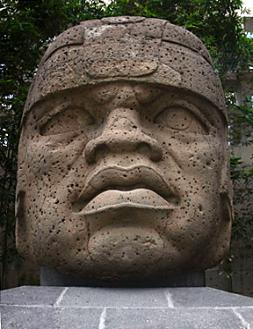 Olmec Head, a common feature in Mayan Cities like Tikal.