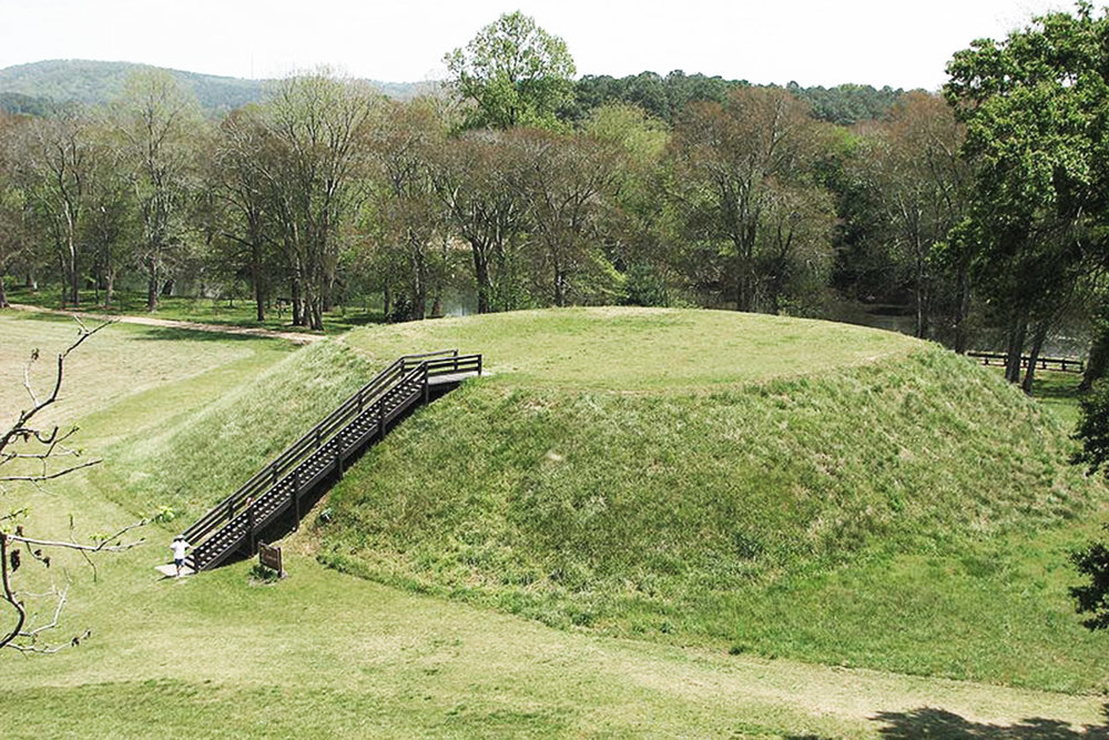 A ruin mound city built by the Mississippian tribes, located in Bartow County, Georgia.