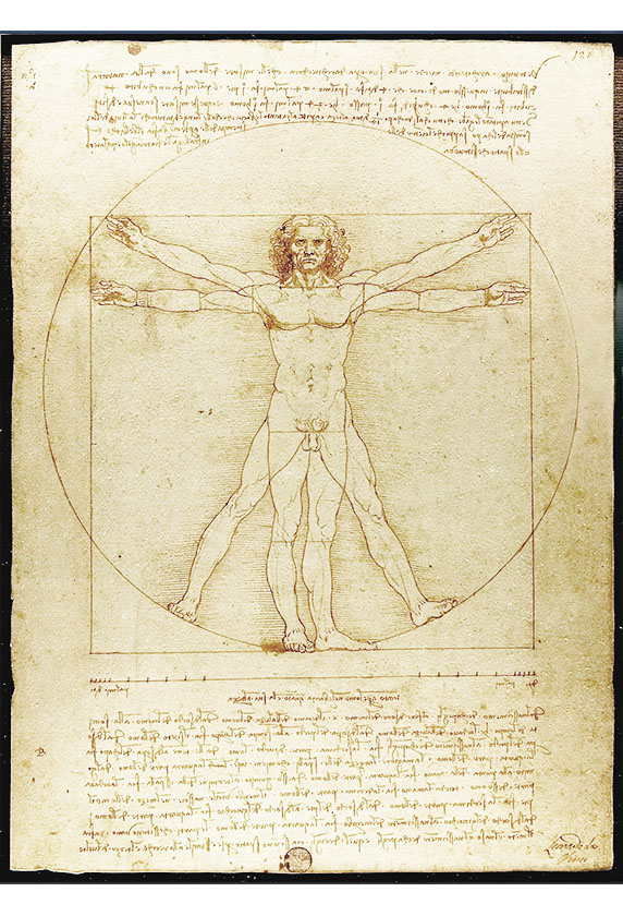 The Vitruvian Man by Leonardo di Vinci. Depicts an interpretation of the proportions of common man as defined by ancient architect Vitruvius. This drawing Di Dinci is critical to Renaissance Architecture because it represents a renewed interest in ancient ideals such as natural humanism and simple order..