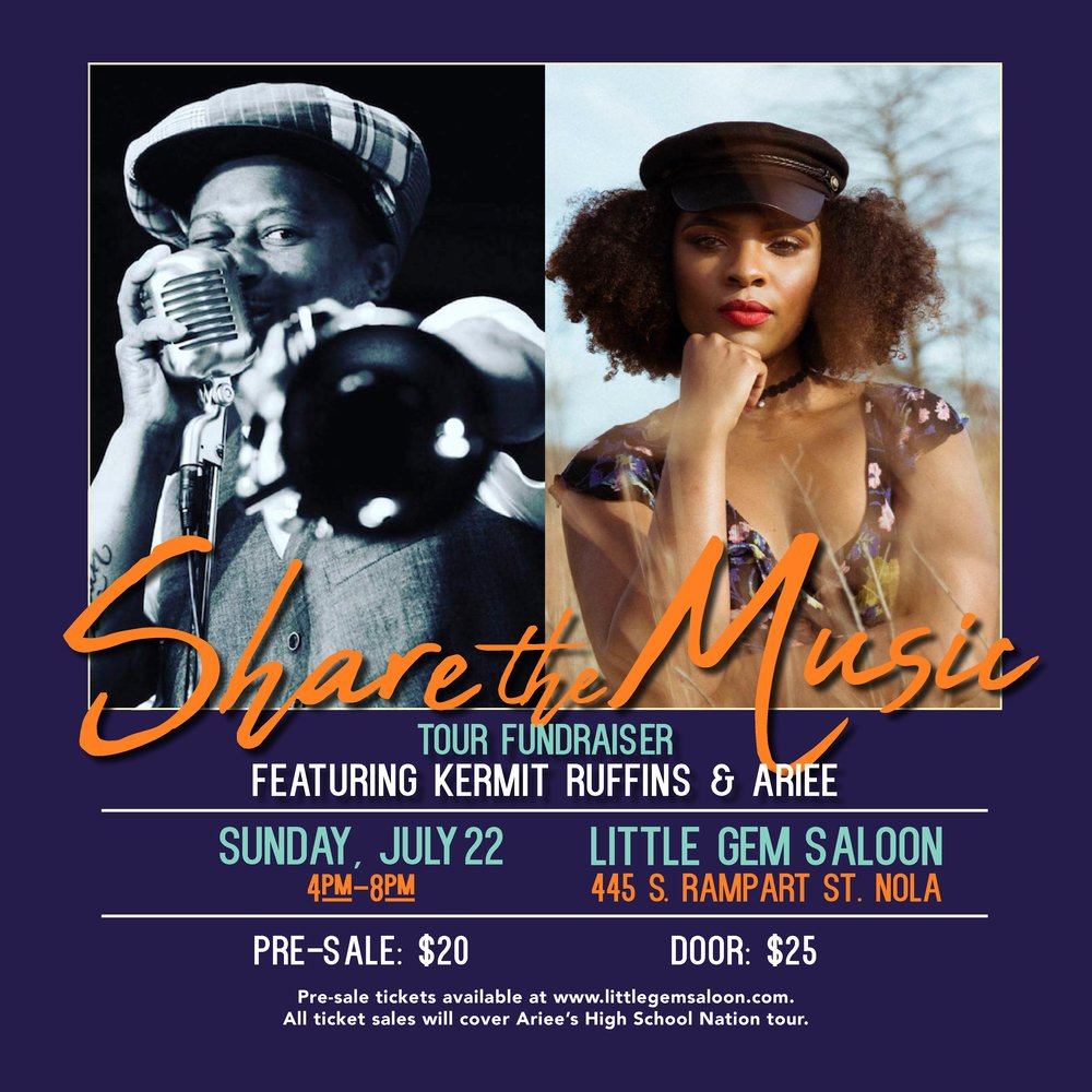 FUNDRAISER FEATURING KERMIT RUFFINS & ARIEE - GET YOUR TICKETS BELOW!
