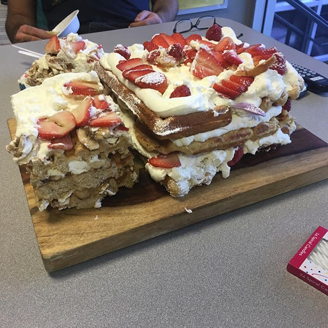 Y'all. Waffle cake. At work.