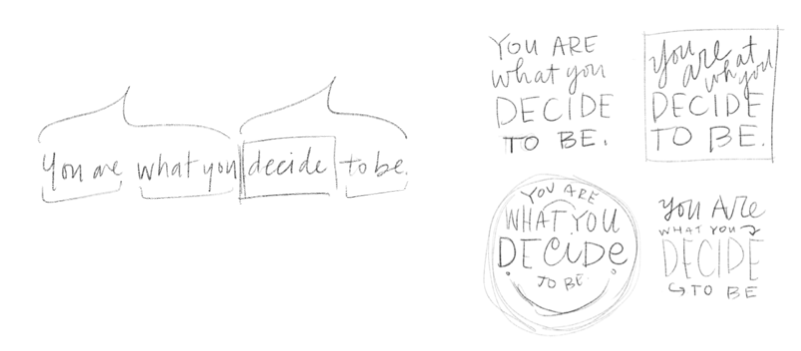 The Process Of Drawing A Hand Lettered Quote From Beginning To End