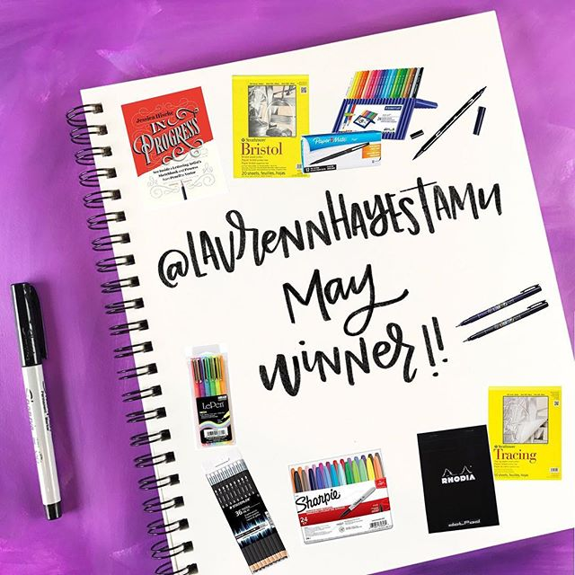 "Our May Winner announcement is here! This was one of those ""thought it posted but it didn't OH NO!"" things so please forgive the lateness of our announcing the winner!⠀ .⠀ @laurennhayestamu you WON for May's #betterletteringcourse challenge! Congratulations! Private message us your mailing address (or email it to laura at madevibrant dot com) and we'll get your prizes out to you right away!⠀ .⠀ There isn't a current lettering challenge but if you're looking for lettering inspiration, check out the previous challenges at handletteringforbeginners.com/challenge⠀ .⠀⠀⠀⠀ #handlettering #lettering #handlettering #letteringco #madebyhand #goodletters #handletteredtype #drawletters #digitalart #handletteringforbeginners"
