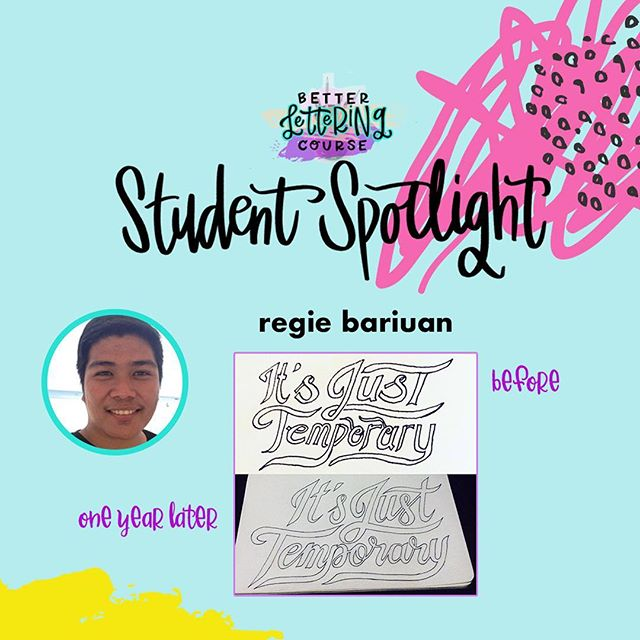 Happy Friday, lettering lovers! Most of you know we are BIG believers in the power of *consistent* practice for improving any creative skill. To show you the AMAZING progress that practice can get you, we're sharing some #BLCStudentSpotlight stories on the blog in the coming weeks. ⠀ . ⠀ Today's post features @regie.ph! Check out Regie's early work compared to the refinement and skill just one year later. It's incredible! You can click through and read more about Regie's lettering journey and definitely check out his Instagram to see how his lettering has evolved. We hope it inspires you to keep carving out time to create and keep practicing! ⠀ . ⠀ If you're ready to dive in but need a jumpstart, be sure to enter your email on HandletteringForBeginners.com to get our free 4-day email course, Launch Your Lettering Practice! 👍⠀ . ⠀ Thanks for being a part of the #BetterLetteringCourse community, Regie! And way to commit to your creativity!⠀ .⠀ .⠀⠀⠀ .⠀⠀⠀ .⠀⠀⠀ #handlettering #lettering #handlettering #letteringco #madebyhand #goodletters #handletteredtype #drawletters #digitalart #handletteringforbeginners