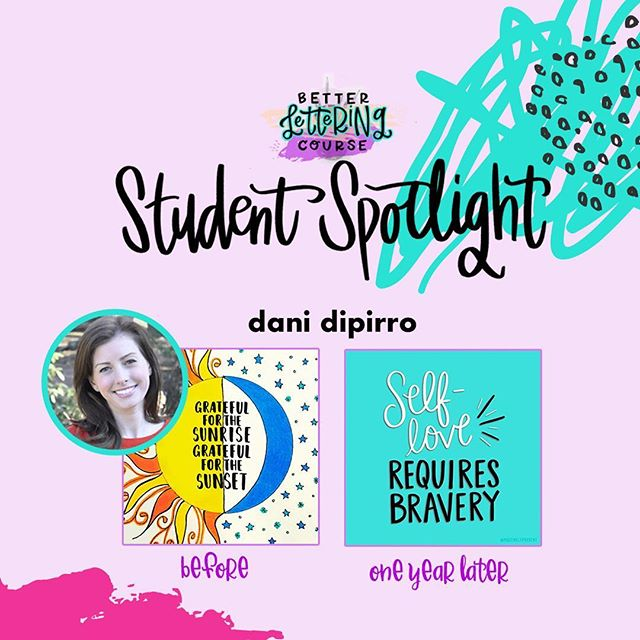 Happy Friday, lettering lovers! Most of you know we are BIG believers in the power of *consistent* practice for improving any creative skill. To show you the AMAZING progress that practice can get you, we're sharing some #BLCStudentSpotlight stories on the blog in the coming weeks.⠀ ⠀ Today's post features @positivelypresent! Check out Dani's early work compared to the refinement and skill just one year later. It's incredible! You can click through and read more about Dani's lettering journey and definitely check out her Instagram to see how her lettering has evolved. We hope it inspires you to keep carving out time to create and keep practicing!⠀ ⠀ If you're ready to dive in but need a jumpstart, be sure to enter your email on HandletteringForBeginners.com to get our free 4-day email course, Launch Your Lettering Practice! 👍⠀ ⠀ Thanks for being a part of the #BetterLetteringCourse community, Dani! And way to commit to your creativity!⠀ .⠀ .⠀ .⠀ .⠀ .⠀ #handlettering #lettering #handlettering #letteringco #madebyhand #goodletters #handletteredtype #drawletters #digitalart #handletteringforbeginners⠀