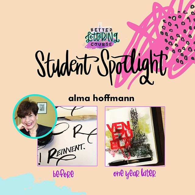 Happy Friday, lettering lovers! Most of you know we are BIG believers in the power of *consistent* practice for improving any creative skill. To show you the AMAZING progress that practice can get you, we're sharing some #BLCStudentSpotlight stories on the blog in the coming weeks.⠀ ⠀ Today's post features @almahoffmann! Check out Alma's early work compared to the refinement and skill just one year later. It's incredible! You can click through and read more about Alma's lettering journey and definitely check out her Instagram to see how her lettering has evolved. We hope it inspires you to keep carving out time to create and keep practicing!⠀ ⠀ If you're ready to dive in but need a jumpstart, be sure to enter your email on HandletteringForBeginners.com to get our free 4-day email course, Launch Your Lettering Practice! 👍⠀ ⠀ Thanks for being a part of the #BetterLetteringCourse community, Alma! And way to commit to your creativity!⠀ .⠀ .⠀ .⠀ .⠀ .⠀ #handlettering #lettering #handlettering #letteringco #madebyhand #goodletters #handletteredtype #drawletters #digitalart #handletteringforbeginners⠀
