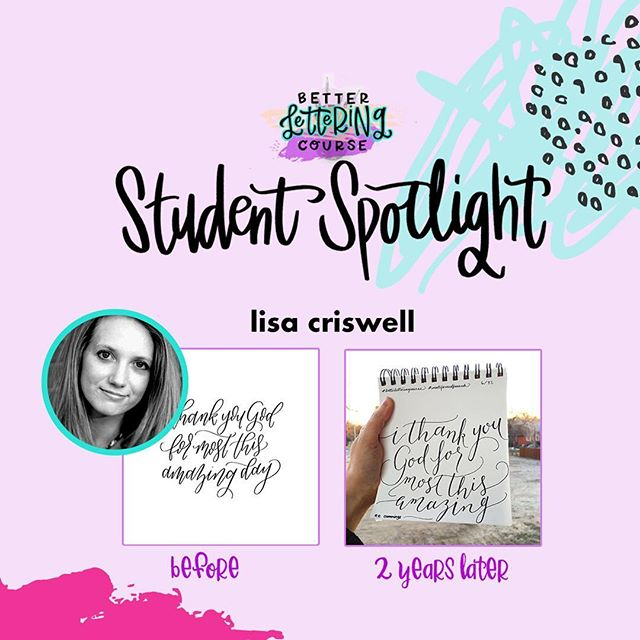 Happy Friday, lettering lovers! Most of you know we are BIG believers in the power of *consistent* practice for improving any creative skill. To show you the AMAZING progress that practice can get you, we're sharing some #BLCStudentSpotlight stories on the blog in the coming weeks.⠀ ⠀ Today's post features @thelivelypen! Check out Lisa's early work compared to the refinement and skill two years later. It's incredible! You can click through and read more about Lisa's lettering journey and definitely check out her Instagram to see how her lettering has evolved. We hope it inspires you to keep carving out time to create and keep practicing!⠀ ⠀ If you're ready to dive in but need a jumpstart, be sure to enter your email on HandletteringForBeginners.com to get our free 4-day email course, Launch Your Lettering Practice! 👍⠀ ⠀ Thanks for being a part of the #BetterLetteringCourse community, Lisa! And way to commit to your creativity!⠀ .⠀ .⠀ .⠀ .⠀ .⠀ #handlettering #lettering #handlettering #letteringco #madebyhand #goodletters #handletteredtype #drawletters #digitalart #handletteringforbeginners⠀