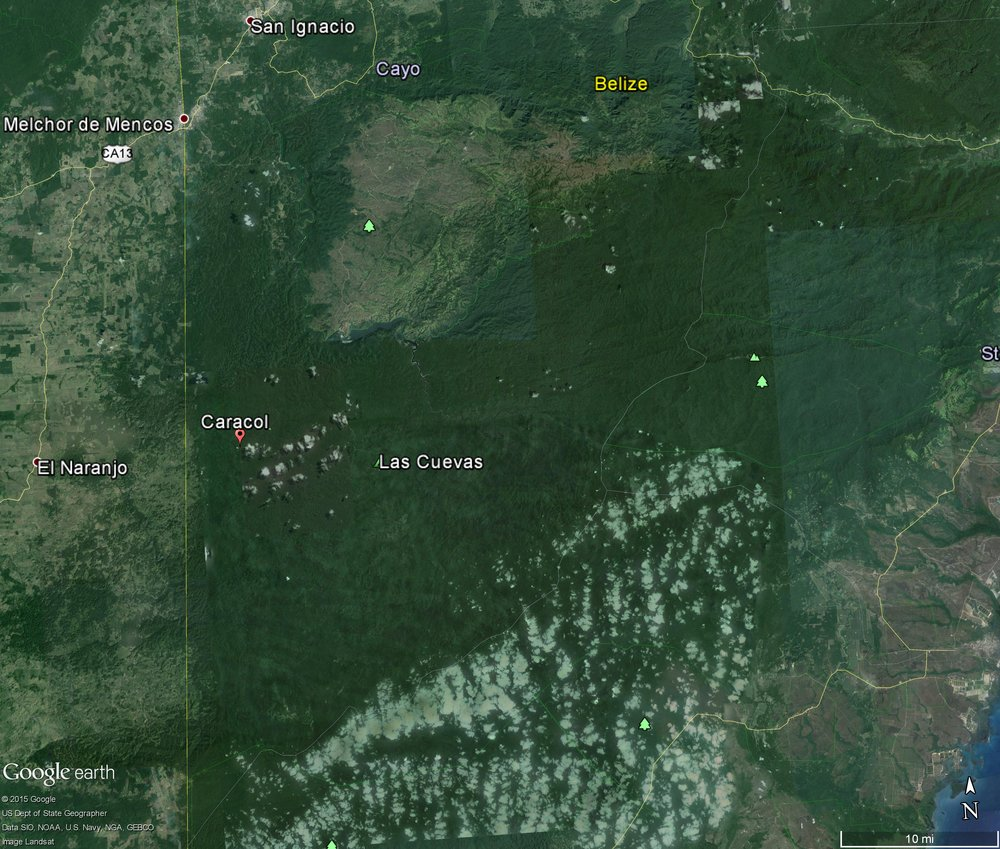 2 015 Google Earth Image showing extent of deforestation in Guatemala and begining to cross over the border (yellow line) into Belize and the CNP.