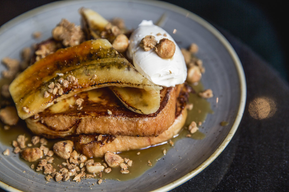 BANANA BUTTERSCOTCH, MARSCAPONE + HAZELNUTS ON TOASTED BRIOCHE