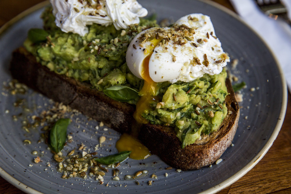 AVOCADO, DUKKAH + POACHED EGG ON TOASTED SOURDOUGH BRUNCH - ISLINGTON
