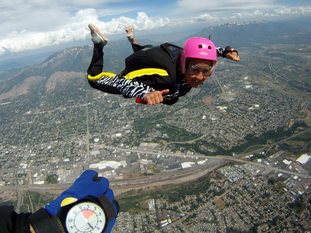 During my undergraduate schooling, I worked at an Indoor Skydiving Facility (iFly Utah) and even got certified to skydive on my own in the Sky! The feeling of being up above the mountains was unreal!