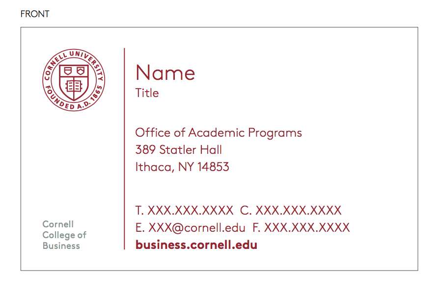Branded templates cornell sc johnson college of business brand guide business cards colourmoves
