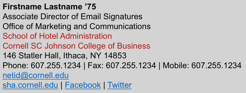 The Hotel School Email Signatures