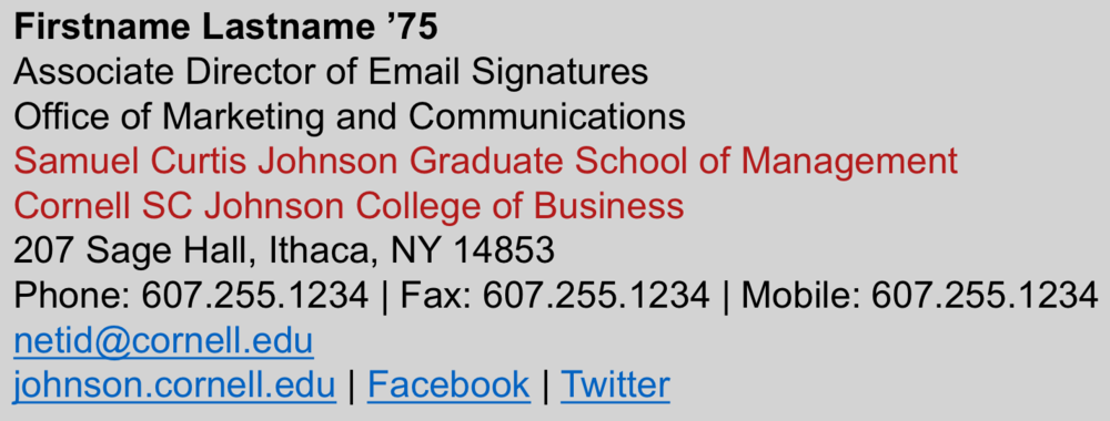 Johnson Email Signatures