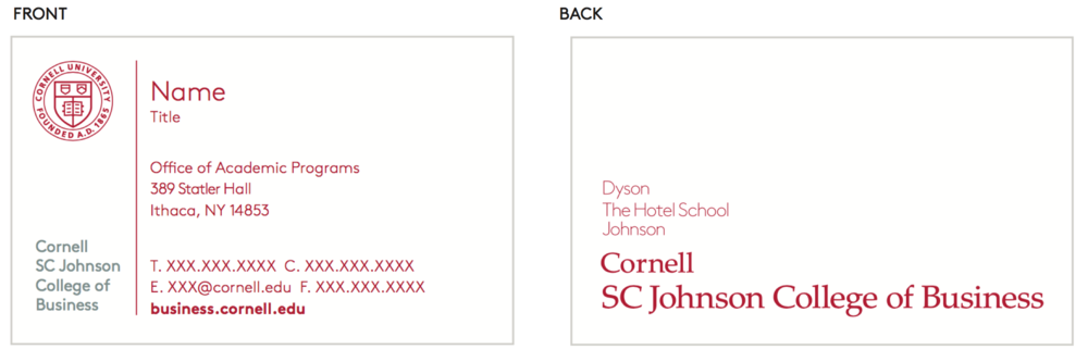 Business cards cornell sc johnson college of business brand guide business cards colourmoves