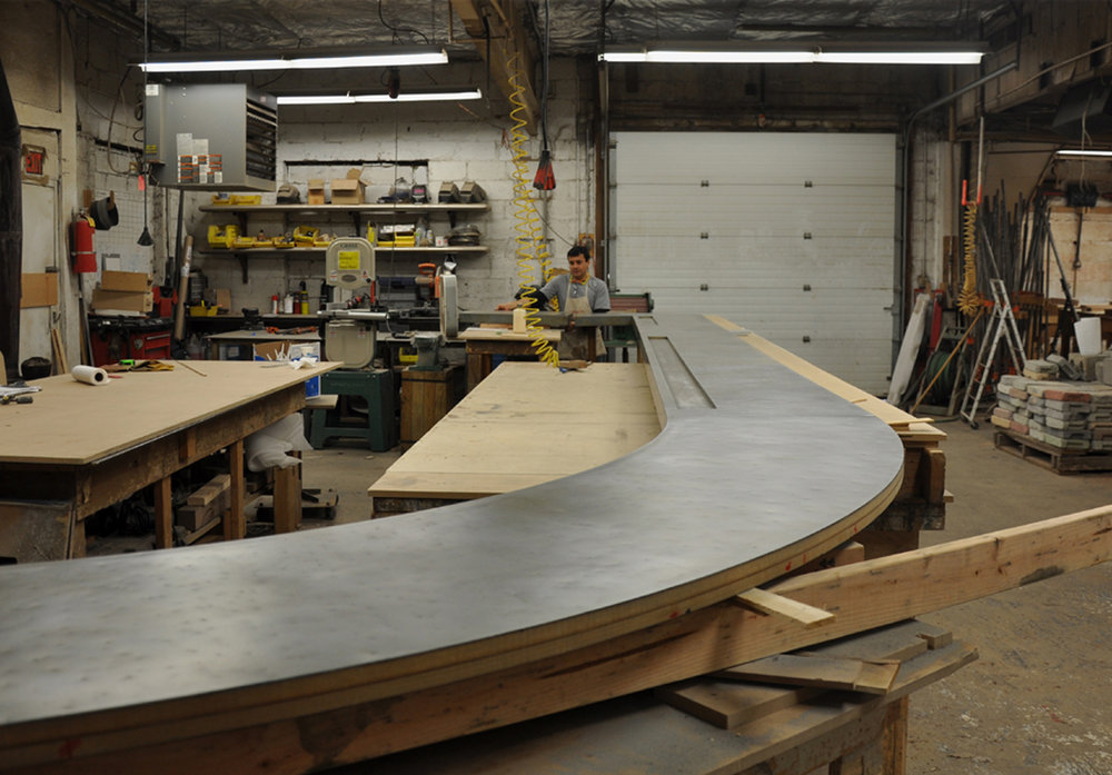 Zinc Bar Top in the Brooks Custom Shop