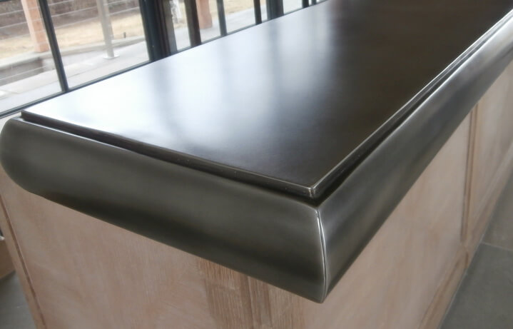 Custom Edge on Pewter Bar Top