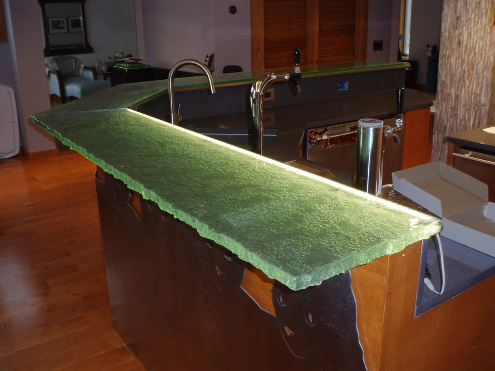 Fusion Glass Bar Top with LED Lighting