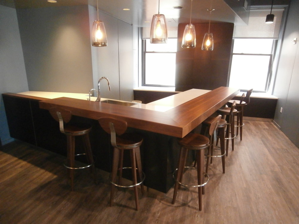 Walnut Bar Top in a Corporate Office