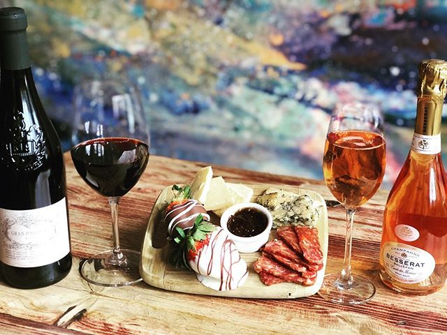 VALENTINES LOVER BOARD SPECIAL (Southern Smash Salami, Cloth bound cheddar, Stilton Blue Cheese, your chocolate covered strawberries) -$16  Gran Passione Veneto Rosso: A blend of Merlot and Corvina $8glass/$30 bottle and Besserat de Bellefon Champagne Brut Rose $16 glass/$30 bottle. #5walnutwinebar #5walnutcheesebar #asheville #valentinesday #avleats #supportlocal #828isgreat #downtownavl