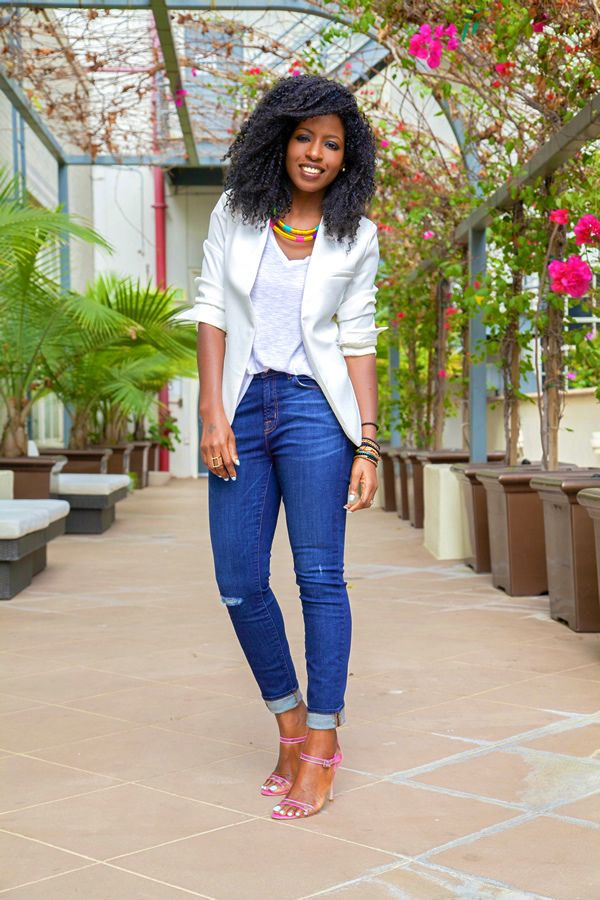 What I love most about the blazer/jeans combo with the white shirt is that you can dress it up or down and it lends itself to a host of colorful accessory options!