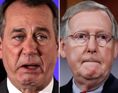 House Republican leader John Boehner of Ohio, left, and Senate Minority Leader Mitch McConnell of Kentucky. (Photos by AP Photo)