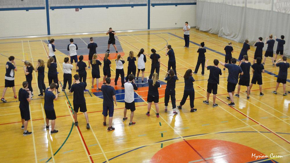 Cours de boxe au Collège Saint Paul, Varennes