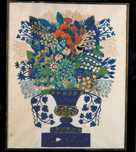 "Anonymous   Papercut for Benj. S. Farret. 1848. Paint and ink on cut and pasted paper. 14 7/8 × 12"". Gift of Cyril Irwin Nelson in loving memory of Jean Lipman. 2004.14.2. Photo: Gavin Ashworth    Location:   American Folk Art Museum, New York, NY, U.S.A.    Photo Credit:   American Folk Art Museum / Art Resource, NY    Image Reference:   ART522632"