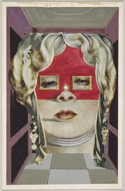 Salvador  Dali, (1904-1989) © ARS, NY    Mae West's Face which May be Used as a Surrealist Apartment , 1934-35. Gouache with graphite, on commercially printed magazine page, 283 x 178 mm . Gift of Mrs. Charles B. Goodspeed, 1949.517.    Location:   The Art Institute of Chicago, Chicago, U.S.A.    Photo Credit:   The Art Institute of Chicago / Art Resource, NY    Image Reference:   ART526908
