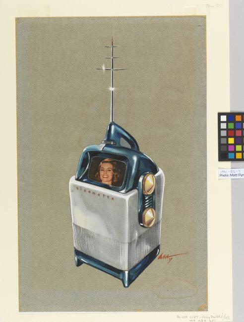 Richard Arbib,  (1917-1995).     Drawing, Design for Visionette Portable Television, 1947. Made in the USA. Brush and watercolor, gouache, collaged printed image on blue-gray wove paper. 19 13/16 x 12 11/16 in. (50.3 x 32.2 cm). Museum purchase through the gift of Mrs. Edward C. Post, 1992-183-7. Photo: Matt Flynn © Smithsonian Institution    Location:   Cooper Hewitt, Smithsonian Design Museum, New York, NY, U.S.A.    Photo Credit:   Cooper Hewitt, Smithsonian Design Museum / Art Resource, NY    Image Reference:   ART526215
