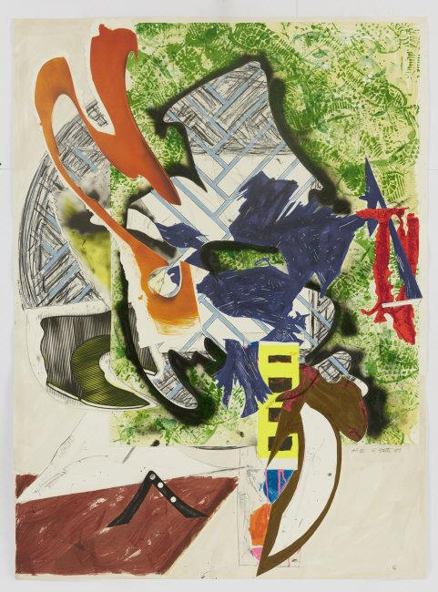 "Frank  Stella, (b.1936) © ARS, NY    Ahab's Leg, Plate 13 from Waves II , 1989. Screenprint with lithograph and linocut in colors with hand-coloring, marbling, and collage. 74 1/2 x 55 3/4""    Location:   Coll. of the Artist    Photo Credit:   Art Resource, NY    Image Reference:   ART522921"