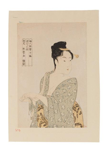 Kitagawa Utamaro (1753-1806)   The Light-hearted Type (Uwaki no so) from the series Ten Studies in Female Physiognomy (Fujin sogaku juttai). Edo period, 1792–3. Japan. Woodblock print; ink, color, and mica on paper. H. 14? x W. 9? in. (37.8 x 25.1 cm). Asia Society, New York: Mr. and Mrs. John D. Rockefeller 3rd Collection, 1979.219. Photography by Synthescape, courtesy of Asia Society    Location:   Asia Society Museum, New York, NY, U.S.A.    Photo Credit:   Asia Society / Art Resource, NY    Image Reference:   ART526092