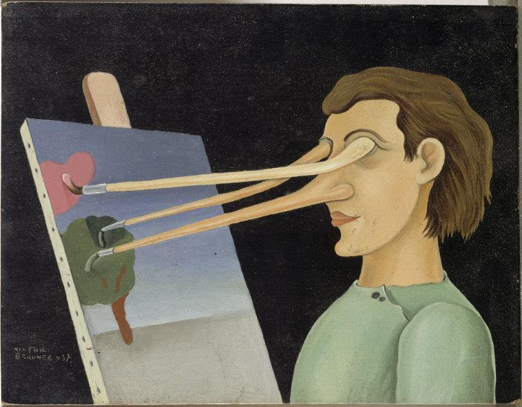 Victor  Brauner,  (1903-1966) © ARS, NY    Sur le motif  (On the Subject). Oil on wood, 14 x 18 cm. AM1982-117.    Location:   Musee National d'Art Moderne, Centre Georges Pompidou, Paris, France    Photo Credit:   © CNAC/MNAM/Dist. RMN-Grand Palais / Art Resource, NY    Image Reference:   ART491131