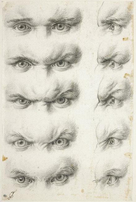 Charles   Le Brun, (1619-1690)    Study of human eyes . INV28228-recto. Photo: Michel Urtado.    Location:   Musée du Louvre, Paris, France    Photo Credit:   © RMN-Grand Palais / Art Resource, NY    Image Reference:   ART497139