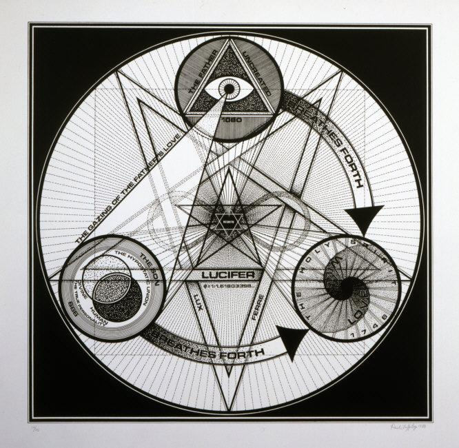 Paul  Laffoley, (1935-2015) © ARS, NY    Get Thee Behind Me Satan . 1974    Photo Credit:   Photo courtesy of Paul Laffoley / Art Resource, NY    Image Reference:   ART525875