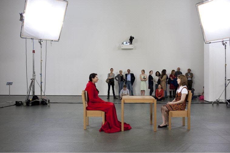 "Marina  Abramovic,  (b. 1946) © ARS, NY   Installation view of the exhibition, ""Marina Abramovic: The Artist Is Present."" March 14, 2010 through May 31, 2010. The Museum of Modern Art, New York. Photo: Jonathan Muzikar © The Museum of Modern Art, New York. Approval from MoMA required PRIOR to release of the image!    Location:   The Museum of Modern Art, New York, NY, U.S.A.    Photo Credit:   Digital Image © The Museum of Modern Art/Licensed by SCALA / Art Resource, NY    Image Reference:   ART409577"