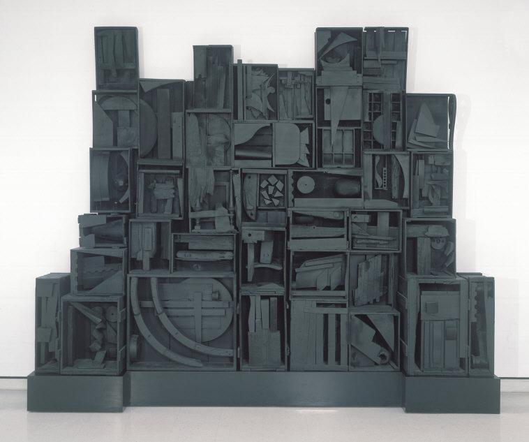 "Louise   Nevelson,(1899-1988) © ARS, NY   Sky Cathedral. 1958. Wood, painted black, overall (with base): 115 x 135 x 20"" (292.1 x 342.9 x 50.8 cm.); overall (without base): 102 1/2 x 133 1/2"" (260.35 x 339.09 x 50.8 cm.). George B. and Jenny R. Mathews Fund, 1970.    Location:   Albright-Knox Art Gallery, Buffalo, NY, USA    Photo Credit:   Albright-Knox Art Gallery / Art Resource, NY    Image Reference:   ART392804"