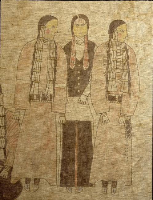 A cloth painting depicting a parade, a Sun Dance ceremony and scenes from daily life. Country of Origin: USA. Culture: Plains Indian, prob. Cheyenne. Credit Line: Werner Forman Archive/ Private Collection, New York . Location: 07.    Photo Credit:   HIP / Art Resource, NY    Image Reference:   AR9138513