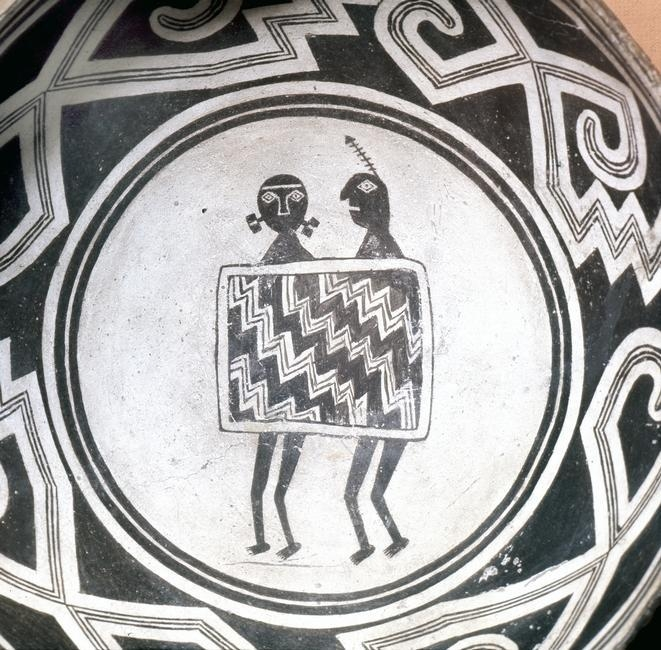 Pottery bowl, Native American, Mogollon/Anasazi culture, USA, c1000. Artist: Werner Forman    A bowl with schematic human figures and black-on-white geometric design. From the Maxwell Museum of Anthropology, Albuquerque, New Mexico.    Photo Credit:   HIP / Art Resource, NY    Image Reference:   AR9128072