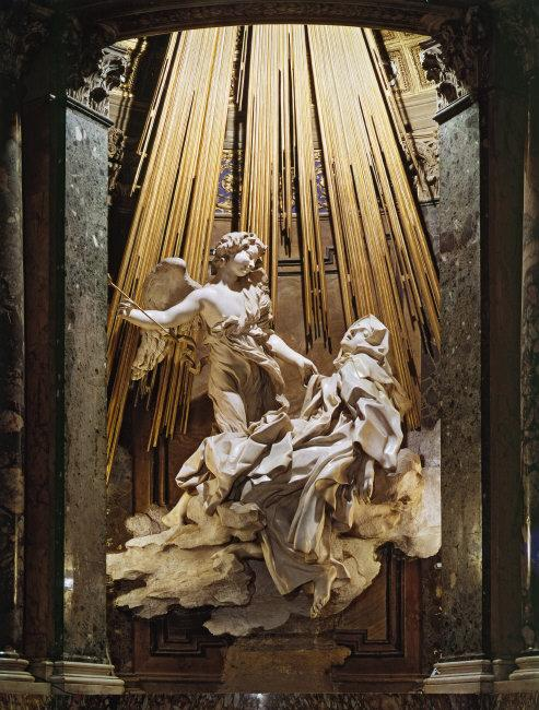 Gian Lorenzo  Bernini, (1598-1680)    Ecstasy of St. Teresa .    Location:   Cornaro Chapel, S. Maria della Vittoria, Rome, Italy    Photo Credit:   Scala / Art Resource, NY    Image Reference:   ART5062