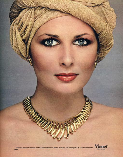 Advertisement from the Illusion Collection by Monet, 1970s. In the Golden Manner of Monet. Necklace $50; earrings $12.50. Monet is a jewellery brand of the American fashion house Liz Claiborne. Rights information: Cleared for Editorial Use Only. Please Contact Us For Any Other Clearance Rights    Photo Credit:   HIP / Art Resource, NY    Image Reference:   AR998038