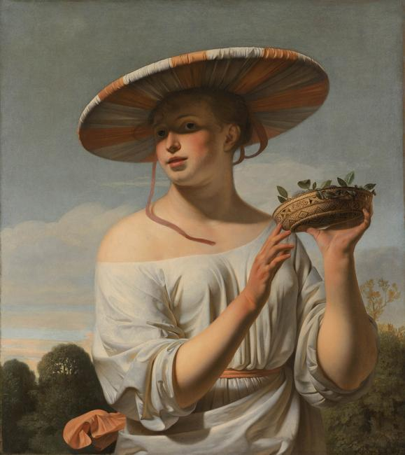 Girl with a Large Hat, 1645-1648. Artist: Everdingen, Caesar Bo?tius van (1616-1678)    Girl with a Large Hat, 1645-1648. Found in the collection of the Rijksmuseum, Amsterdam.    Photo Credit:   HIP / Art Resource, NY    Image Reference:   AR921514