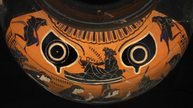 Dionysos with two Silenes between two protective evil eyes. Ca. 520 BCE. Black figure hydria, h. 39 cm. From Vulci (Italy). Inv. F 1894. Photo: Johannes Laurentius.    Location:   Antikensammlung, Staatliche Museen, Berlin, Germany    Photo Credit:   bpk Bildagentur / (name of museum) /(name of photographer) / Art Resource, NY    Image Reference:   ART398380