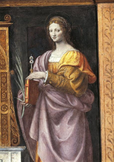 Bernardino   Luini,(c.1475-1532)    St. Lucy , Fresco (1521-1523). Photo: Saporetti    Location:   S. Maurizio, Milan, Italy    Photo Credit:   © DeA Picture Library / Art Resource, NY    Image Reference:   ART377651