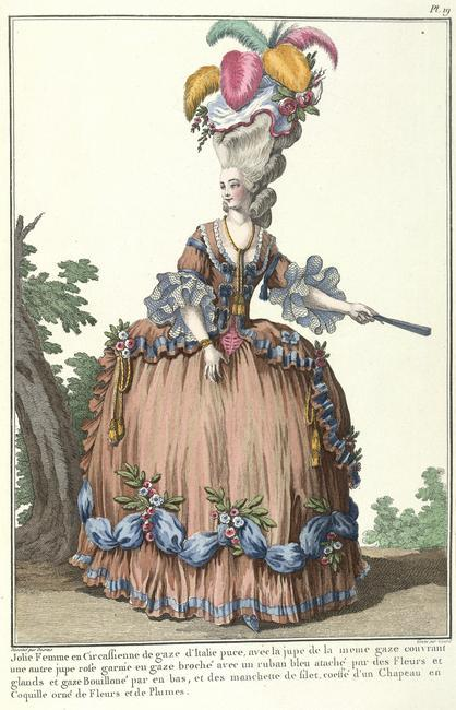 Lady in a Circassian dress    A pretty lady in a Circassian dress of puce Italian gauze, with a skirt in the same gauze over another pink silk skirt, ornamented with puffed gauze and blue ribbon attached by flowers and tassels, with net sleeves. The shell hat is decorated with flowers and feathers.The frogging on the bodice is called Brandenburg. The aerial dresses can only be worn when the weather is hot, as one cannot add a mantle or scarf. Some elegant ladies wear a gold cord over the open corsage. The shell of Venus chariot hat is edged with a ribbon the same colour as the dress, ornamented with sprays of roses. Image taken from Galerie des modes et costumes francais, dessines d'apres nature. 1778-1787. Reimpression accompagnee d'une preface parM. Paul Cornu. [With a frontispiece.] Originally published/produced in Paris, 1911-14.    Photo Credit:   © British Library Board / Robana / Art Resource, NY    Image Reference:   AR9114724