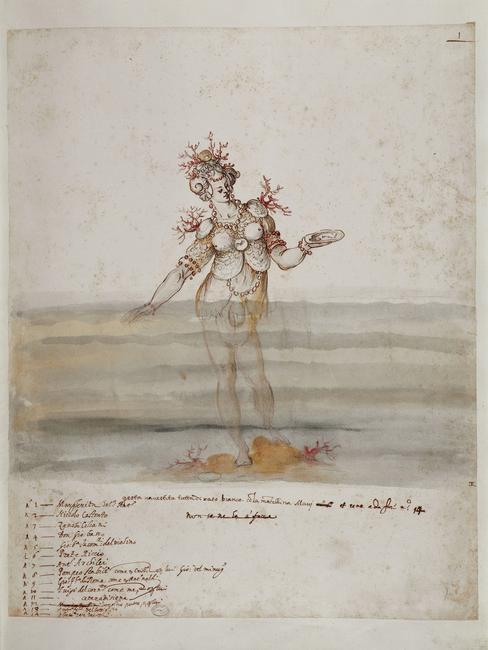 Bernardo  Buontalenti,  (1536-1608)   Costume design for sea nymph for Fifth Intermezzo of Girolamo Bargagli's La Pellegrina performed for the 1589 Wedding of Ferdinand I and Christine of Lorraine. 47.9 x 37.9 cm. pen and brown ink, watercolor.    Location:   Biblioteca Nazionale, Florence, Italy    Photo Credit:   Scala / Art Resource, NY    Image Reference:   ART534273