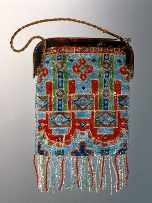 Lady's handbag with multicolored Jais applications forming an art deco pattern. Hinge made of tortoise shell. Italy, 1920-1930.    Location:   Private Collection    Photo Credit:   Alfredo Dagli Orti / Art Resource, NY    Image Reference:   ART425416