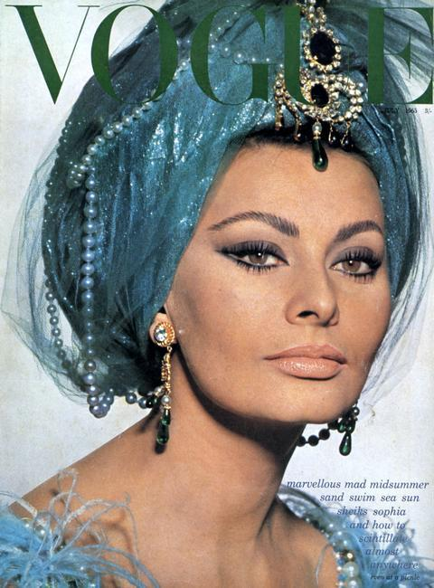 Sophia Loren, Italian film actress, 1965. Cover of Vogue, July 1965. FOR EDITORIAL USE ONLY. CROPPING RESTRICTIONS.    Photo Credit:   HIP / Art Resource, NY    Image Reference:   AR998751